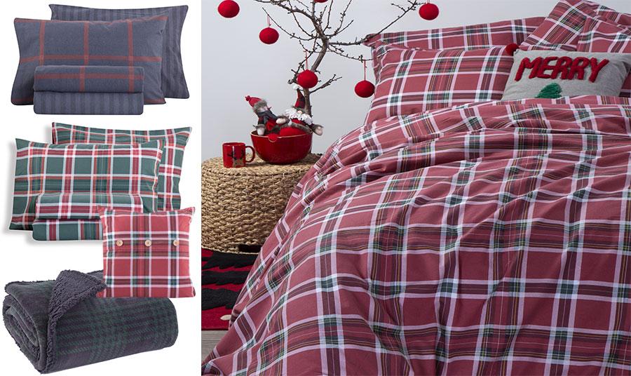 Εντυπωσιακά καρό φανελένια σεντόνια για το υπνοδωμάτιο, σε μπλε, Walace Blue // Συνδυασμός πράσινου και κόκκινου, Check Spirit Green // Διακοσμητικό μαξιλάρι σε κόκκινο, Check Spirit Red// Ριχτάρι με γούνα σε μπλε και πράσινο, First Sherpa Green // Στρώστε το κρεβάτι σας με γιορτινή διάθεση… για όμορφα όνειρα και ακόμη πιο όμορφο ξύπνημα, κόκκινα καρό σεντόνια,  Check Spirit Red, όλα NEF NEF Homeware