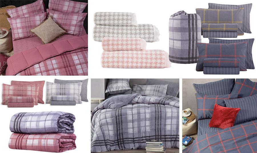 Πάπλωμα και σετ σεντόνια σε ροζ, μπλε και γκρι (δεξιά πάνω και κάτω) από τη σειρά Oscar, // Υπέροχες πετσέτες σε παστέλ καρό, Lorens // Φανελένια σεντόνια γκρι με μουσταρδί ή κόκκινο, από τη σειρά Wallace, όλα από τη νέα συλλογή Nef Nef Homeware