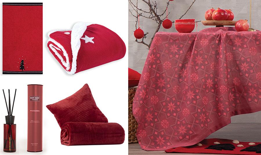 Οι γιορτές λατρεύουν… το κόκκινο! Βάλτε το πνεύμα των γιορτών και στο μπάνιο σας με κόκκινες πετσέτες στολισμένες με ένα δεντράκι (σετ 2 τεμαχίων), Christmas Forest // Κουβέρτα καναπέ λευκή γούνα, Sparkling // Αρωματικού χώρου με στικς άγριο βατόμουρο // Ριχτάρι (τρία διαφορετικά μεγέθη) και μαξιλάρι βελουτέ, Cameron σε υπέροχο μπορντό // Τραπεζομάντιλο σε κόκκινη απόχρωση Christmas Spirit, όλα NEF NEF Homeware