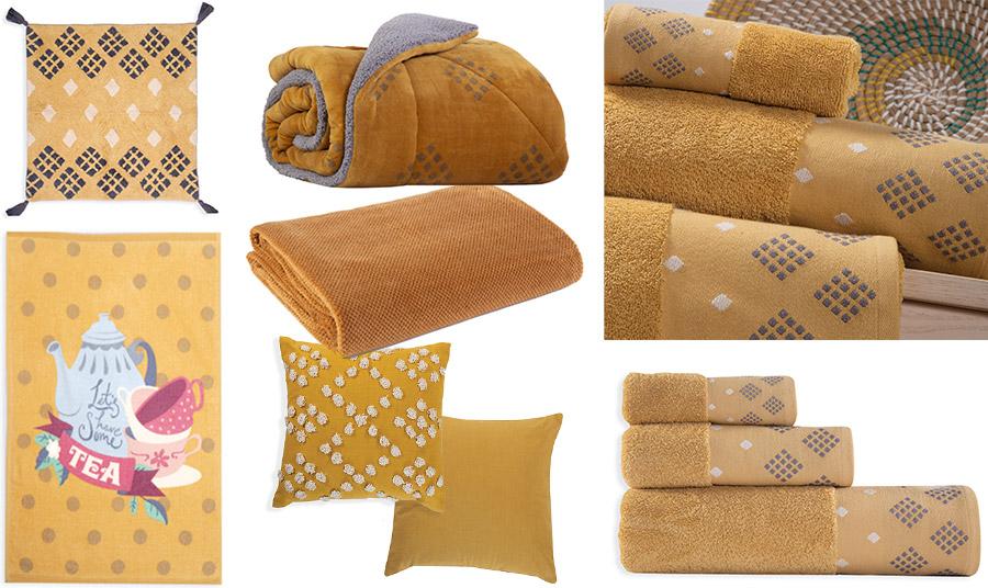 Ταπέτο μπάνιου σε μουσταρδί // Κουβερτοπάπλωμα σε συνδυασμό μουσταρδί και γκρι ή μία υπέροχη απαλή κουβέρτα για να απολαύσουμε τον ύπνο μας; // Πετσέτες μπάνιου στο χρώμα του κίτρινου της μουστάρδας, Infinity // Πετσέτα κουζίνας χαριτωμένη, θα δώσει μία πινελιά ζωηρού χρώματος // Διακοσμητικά μαξιλάρια, Decline, όλα από τη νέα συλλογή Nef Nef Homeware