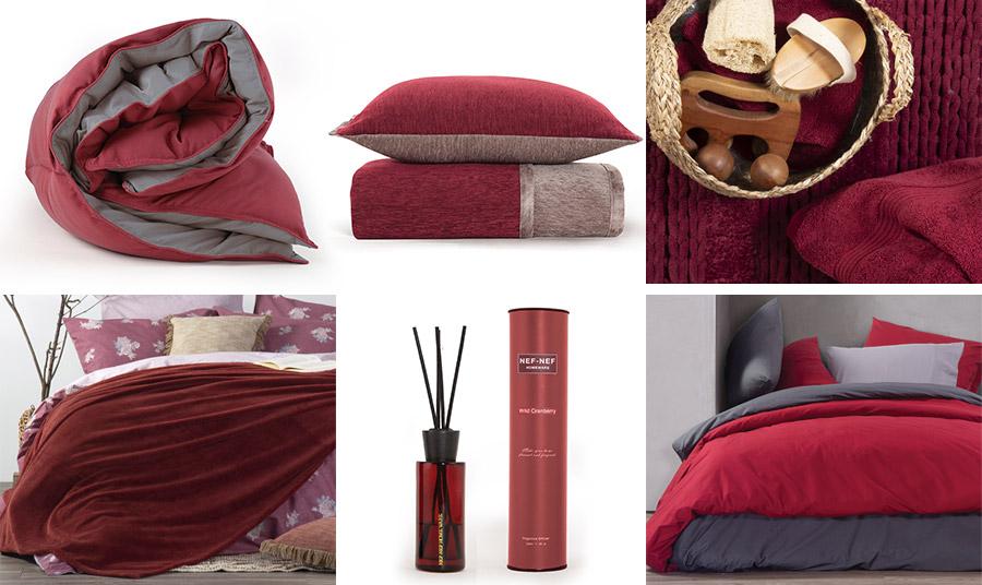 Σαν γλυκό… κόκκινο κρασί, αυτή η απόχρωση του κόκκινου ζεσταίνει τις κρύες ημέρες και νύχτες! Πάπλωμα, σε δύο αποχρώσεις του γκρι και του κόκκινου, Bicolor // Ριχτάρι και διακοσμητικό μαξιλάρι, Tanger // Ταπέτο σε σκούρα κόκκινη απόχρωση, Life // Κουβέρτα, Record Bordo // Αρωματικά στικς χώρου, Wild Cranberry // Συνδυασμός κόκκινου και γκρι, δύο τάσεις… σε μία! Όλα από τη νέα συλλογή Nef Nef Homeware