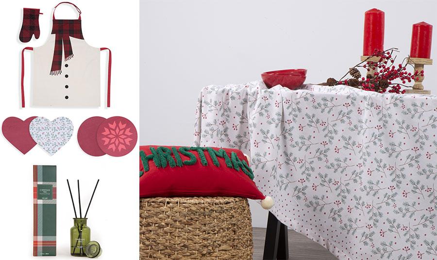 Σετ γάντι και ποδιά, Scurf // Σουπλά καρδούλες, Christmas Spirit ή στρογγυλά με νιφάδες, Smooth Christmas // Αρωματικού χώρου με στικς, Christmas Tree // Tραπεζομάντιλο με λεπτεπίλεπτα μοτίβα από γκι και έλατο, Smooth Christmas, όλα NEF NEF Homeware