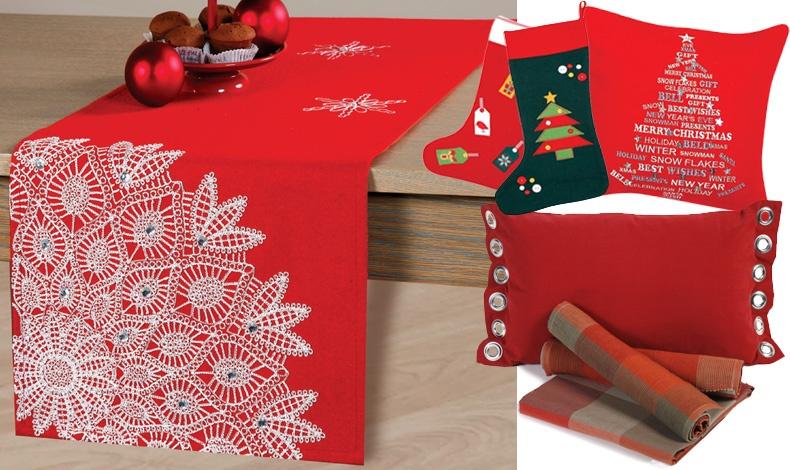 Runner (Snowflakes (33x150) 22,50 // Διακοσμητικές Kάλτσες Christmas tree & Gaud, ?14,50, Διακοσμητικά μαξιλάρια Wishes (40x40), 19,50 // Διακοσμητικά μαξιλάρια με κρίκους: (30x50), Trook, 11,90 // Τραπεζομάντηλο (140x140), Crimson ?17,00 και (140x180), 19,50, όλα ΝΕF NEF HOMEWARE