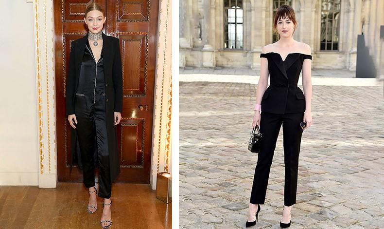 Η Gigi Hadid με jumpsuit από αστραφτερό σατέν και εντυπωσιακό τσόκερ // Η Dakota Johnson με μαύρη φόρμα έξωμη, ιδανική εναλλακτική λύση για επίσημη εμφάνιση