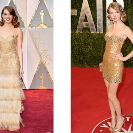 Δύο εκδοχές του χρυσού! Η Emma Stone με μάξι φόρεμα με κρόσσια και η Taylor Swift με σούπερ μίνι στολισμένο με στρας