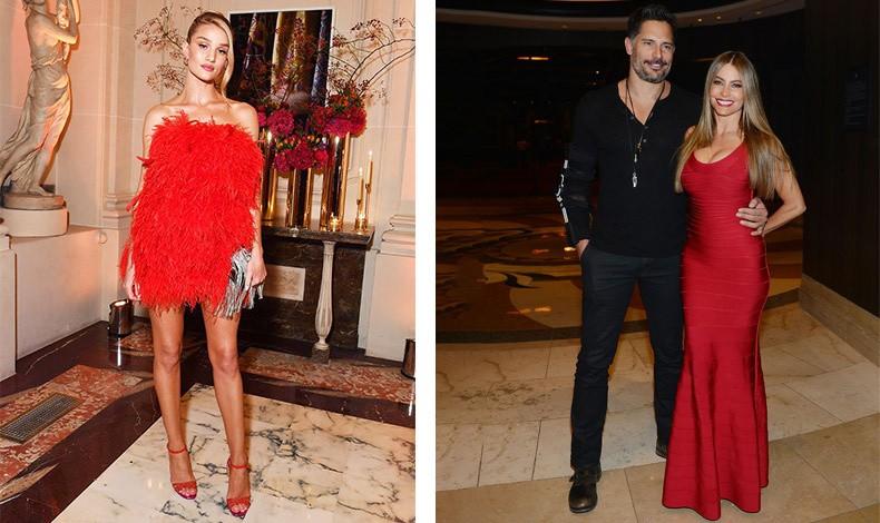 Το κόκκινο είναι πάντοτε εορταστικό! Η Rosie Huntington-Whiteley με ένα φόρεμα από κόκκινα φτερά (πολύ της μόδας επίσης φέτος) και η Sofia Vegara με στενή κόκκινη τουαλέτα