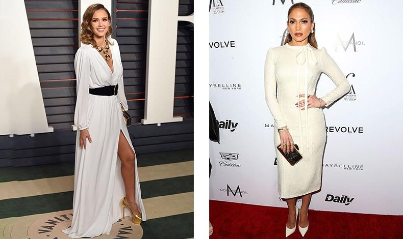 Η Jessica Alba συνδυάζει το λευκό μακρύ φόρεμα με χρυσές γόβες και ένα εντυπωσιακό κολιέ // Η Jennifer Lopez με την απόλυτη κομψή εμφάνιση, ένα μίντι λευκό φόρεμα, λευκές γόβες κι ένα αστραφτερό clutch