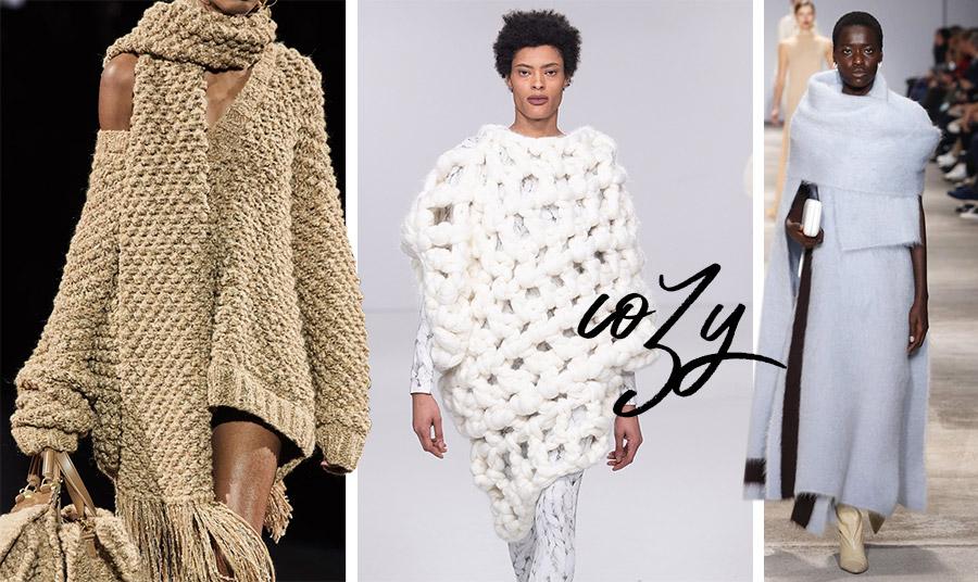 Σε γήινες-χρυσαφί αποχρώσεις το πλεκτό σέξι σύνολο, φθινόπωρο 2020-χειμώνας 2021, Dolce&Gabbana // Η «επιτομή» του cosy style, με απαλά, χοντρά και φαρδιά πλεκτά, φθινόπωρο 2020-χειμώνας 2021,Johan Ku // Απαλότητα και θαλπωρή στο χρώμα του πάγου, φθινόπωρο 2020-χειμώνας 2021, Jil Sander