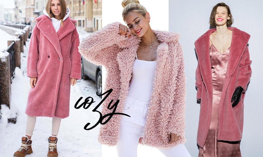 Σε υπέροχες ροζ και ροδί αποχρώσεις που φέρνουν γλυκύτητα και απαλότητα στις κρύες ημέρες. Υπέροχο παλτό από συνθετική γούνα από τη χειμερινή συλλογή 2020-2021 Max Mara // Χνουδωτό πανωφόρι σε παστέλ ροζ // Πολυτέλεια και λάμψη, φθινόπωρο 2020, Max Mara