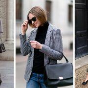 Ένα σακάκι ή μπλέιζερ σε καρό με άψογη ραφή και γραμμή συνδυάζεται πολύ ωραία με τζιν ή υφασμάτινο στενό ή σε ίσια γραμμή παντελόνι