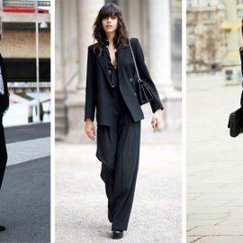 Ένα καλοραμμένο κοστούμι μπορεί να αντικαταστήσει το κοκτέιλ φόρεμα και να είναι κατάλληλο και για επίσημη εμφάνιση. Φοριέται στη δουλειά, ενώ με την προσθήκη ψηλοτάκουνων και με ένα ζευγάρι εντυπωσιακά σκουλαρίκια… σας πάει παντού!