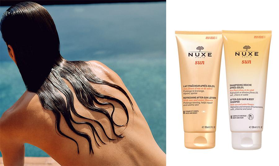 Το γαλάκτωμα Lait Fraicheur Apres Soleil της σειράς Sun της Nuxe επανορθώνει το δέρμα από την έκθεση στην υπεριώδη ακτινοβολία και ενυδατώνει άμεσα την επιδερμίδα. Η αναζωογονητική υφή του έχει καταπραϋντική δράση, ενώ παρατείνει το μαύρισμα. Κατάλληλο για πρόσωπο και σώμα, με υπέροχο, καλοκαιρινό άρωμα με νότες από γλυκό πορτοκάλι, άνθη Tiare και βανίλια // Το Shampooing Douche Apres Soleil αναζωγονεί και απομακρύνει τα αντηλιακά φίλτρα, το αλάτι, το χλώριο και την άμμο από το σώμα και τα μαλλιά. Καθαρίζει απαλά και περιέχει 92% συστατικά φυσικής προέλευσης