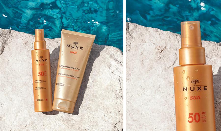 Το Sun Spray Fondant Haute Protection SPF50 της Nuxe προστατεύει από την πρόωρη εμφάνιση ορατών σημαδιών γήρανσης που συνδέονται με τον ήλιο. Το εξαιρετικά πρακτικό και ελαφρύ αντηλιακό spray
