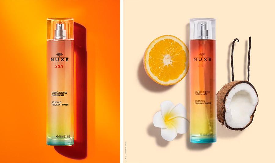 Eau Delicieuse Parfumante Εμπνευσμένο από το εθιστικό άρωμα της σειράς περιποίησης της επιδερμίδας Nuxe Sun, το άρωμα αποπνέει… καλοκαίρι! Με νότες από γλυκό πορτοκάλι, τροπική καρύδα, άνθη tiare, βανίλια και μόσχο. Ένα αρωματικό ένα σύννεφο.