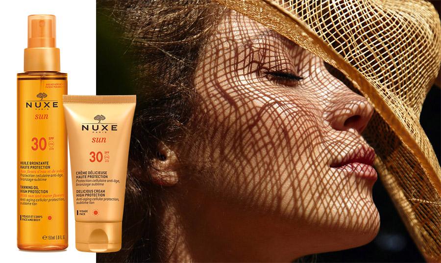 Huile Bronzante Haute Protection SPF 30, Λάδι μαυρίσματος για πρόσωπο & σώμα υψηλής προστασίας από την ακτινοβολία UVA/UVΑ και τη φωτογήρανση, ενώ παράλληλα προσφέρει λαμπερό μαύρισμα. Περιέχει υάκινθο και ηλίανθο // Η αντηλιακή κρέμα προσώπου Crème Délicieuse Haute SPF30 προστατεύει από τη γήρανση που οφείλεται στον ήλιο