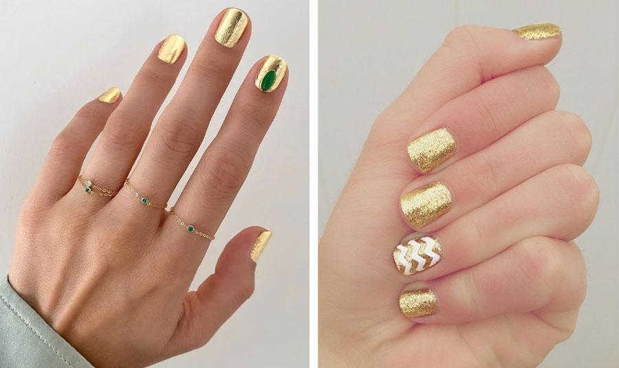 Η πρόταση της nail artist του οίκου Chanel είναι πραγματικά μοναδική! Λαμπερό χρυσό που δίνει την αίσθηση του τρισδιάστατου, με μία διακριτική πινελιά πράσινου σαν πολύτιμο σμαράγδι // Βερνίκι με γκλίτερ και ζιγκ ζαγκ ρίγες από λευκό σε ένα νύχι