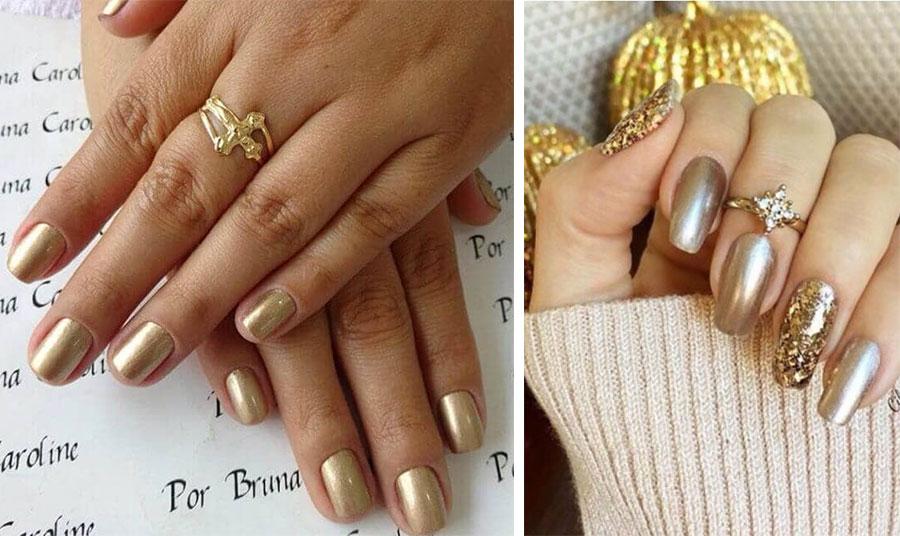 Ματ ή πιο λαμπερή υφή χρυσού σε όλα τα νύχια // Συνδυασμός ματ χρυσαφί χρώμα με εναλλαγή από «φύλλα» χρυσού για έξτρα λάμψη