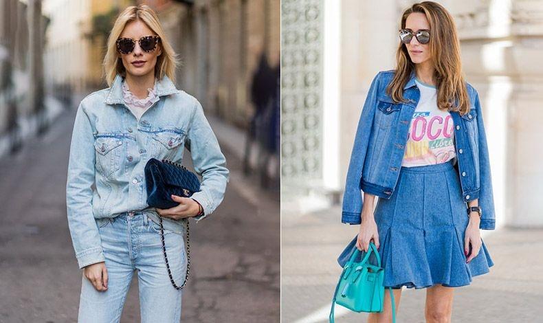 Τζιν πουκάμισο και παντελόνι συνδυασμένο με λεπτό μπλουζάκι ή τζιν φούστα και τζιν σακάκι με ένα ενδιαφέρον T-shirt