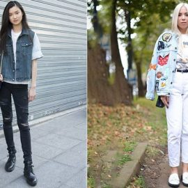 Τα μαύρα και φθαρμένα τζιν είναι μόδα συνδυάστε το με κλασικό αμάνικο τζιν σακάκι και ένα απλό Τ-shirt // Λευκό τζιν και πάτσουγορκ ντένιμ σακάκι