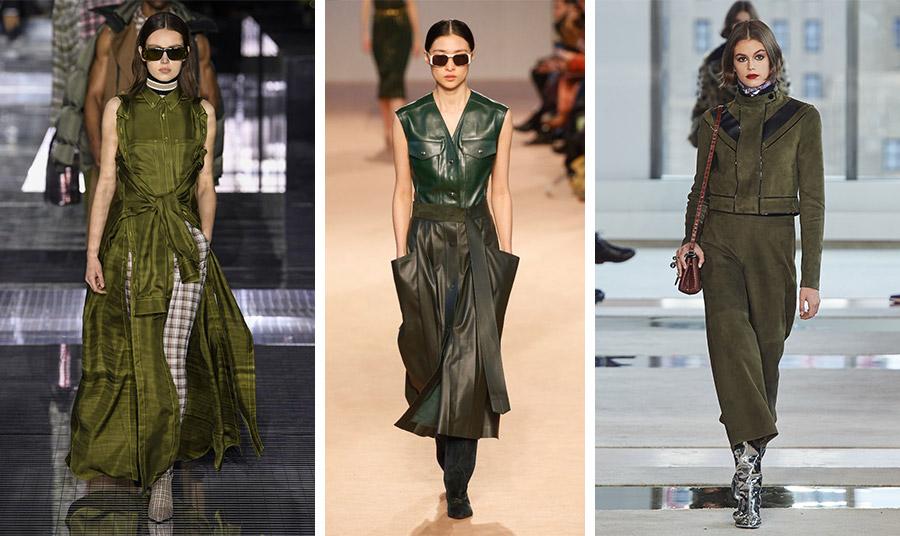 Από τις πασαρέλες φθινόπωρο 2020-χειμώνας 2021: συνδυασμένο λαδί φόρεμα με καρό, Burberry // Σε διαφορετικές αποχρώσεις του πράσινου, το δερμάτινο σύνολο, Ferragamo // Λαδί σουέντ με ασημένιες μπότες, Longchamps