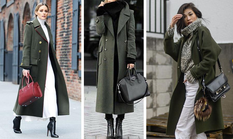 Φορέστε το λαδί με λευκό και ακόμη καλύτερα με πινελιές του σκούρου κόκκινου, όπως η Olivia Palermo // Λαδί παλτό με όλα τα υπόλοιπα ρούχα και αξεσουάρ σε μαύρο είναι μία σοφιστικέ λύση // Casual εμφάνιση αλλά με πολύ στιλ! Λαδί παλτό, με λευκό τζιν και ένα φαρδύ πλεκτό που περιέχει και τα δύο χρώματα
