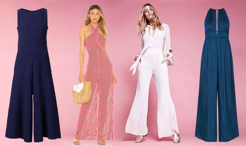 Το σκούρο μπλε είναι ιδανική επιλογή για επαγγελματικές ή βραδινές εμφανίσεις // Μια ολόσωμη φόρμα με φαρδιά μπατζάκια τύπου παντελόνας, ταιριάζει σε πιο ψηλές γυναίκες // Το λευκό είναι ένα κλασικό χρώμα που συνδυάζεται εύκολα // Προτιμήστε το halter neck αν έχετε μικρό στήθος