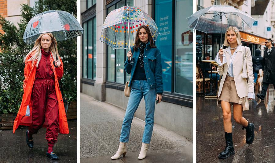 Η ιδέα της διάφανης ομπρέλας έχει κερδίσει πόντους στο πεδίο… της μόδας κάτω από τη βροχή!