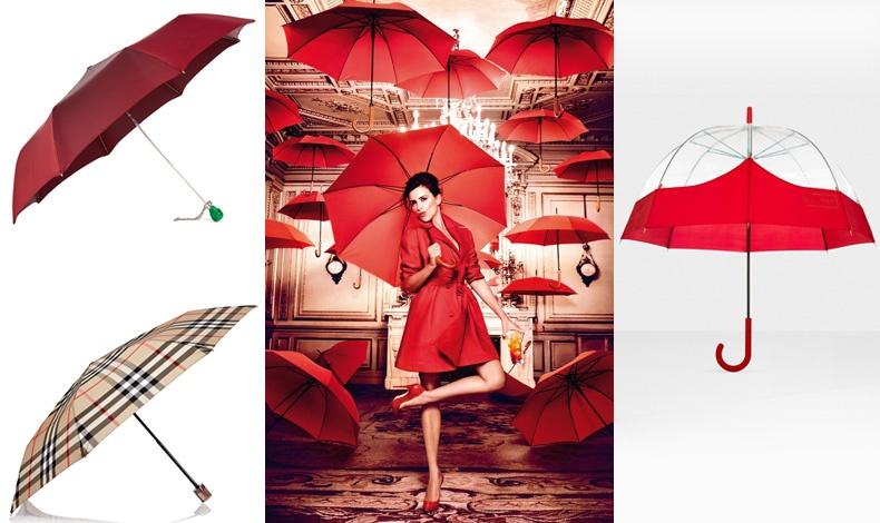 Ομπρέλα Alexander McQueen// Καρό, Burberry London // Φωτιά στα κόκκινα, από το ημερολόγιο της Campari για το 2013 // Συνδυασμός διάφανου και κόκκινου, Hunter