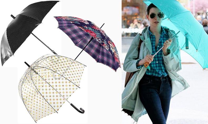 Μαύρη με λευκά πουά, Dolce & Gabbana // Συνδυασμός λουλουδιών και καρό, Cath Kidston // Διάφανη, Orla Kiely // Η Αν Χαθαγουέι με βεραμάν ομπρέλα και ασορτί αδιάβροχο
