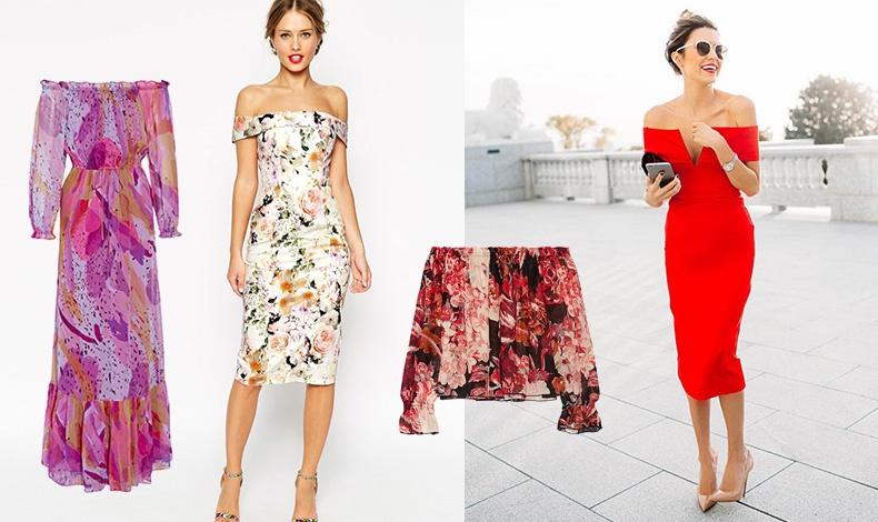 Mακρύ έξωμο φλοράλ φόρεμα, Diane von Furstenberg // Φλοράλ φόρεμα μέχρι το γόνατο, Asos // Τοπ με λουλούδια σε κόκκινες-ροζ αποχρώσεις, Elizabeth and James // Ένα κόκκινο έξωμο φόρεμα για βραδινές εμφανίσεις