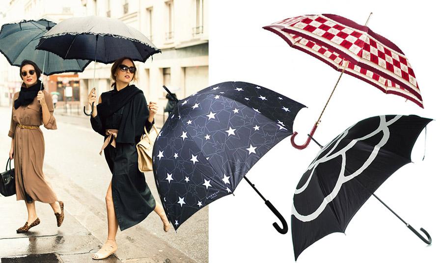 Η ομπρέλα είναι ένα αξεσουάρ της μόδας! Με ρομαντικά αστέρια, Givenchy // Σε λευκό και κόκκινο, Ferré // Με γραίφιστικο σχέδιο η «αθάνατη» καμέλια, Chanel