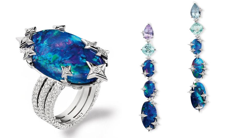 Δαχτυλίδι και σκουλαρίκια από μπλε οπάλια και διαμάντια, από τη συλλογή Planetes, Chaumet
