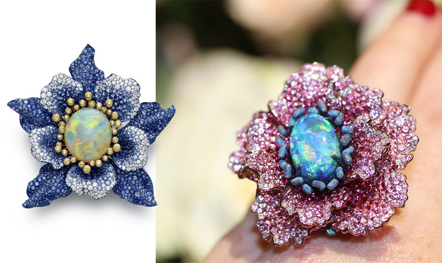 Υπέροχες καρφίτσες σε σχήματα λουλουδιών με οπάλια και πολύτιμους λίθους, Chopard