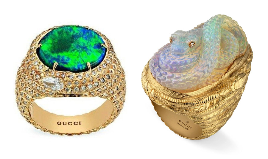 Δαχτυλίδια με οπάλια για το λανσάρισμα του οίκου Gucci στην Υψηλή Κοσμηματοποιία με τον τίτλο Garden of Delights