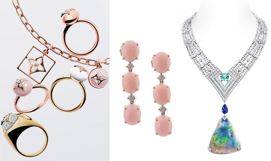 Κοσμήματα με ροζ οπάλιο αλλά και κολιέ με παντατίφ από πολύχρωμο οπάλιο, από τη συλλογή του οίκου Louis Vuitton