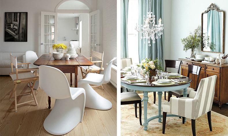 Μην ανησυχείτε, αν δεν είναι όλες οι καρέκλες ίδιες!  Αυτό θα δώσει έναν μοντέρνο και ιδιαίτερο αέρα στην τραπεζαρία σας!