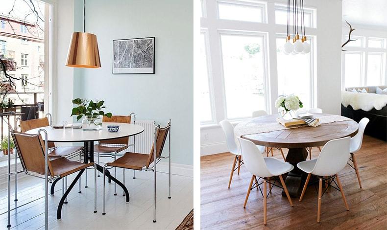 Αν ο χώρος είναι πιο μικρός, προτιμήστε στρογγυλό τραπέζι. Δώστε έμφαση στην επιλογή του φωτιστικού που δίνει το στίγμα στον χώρο