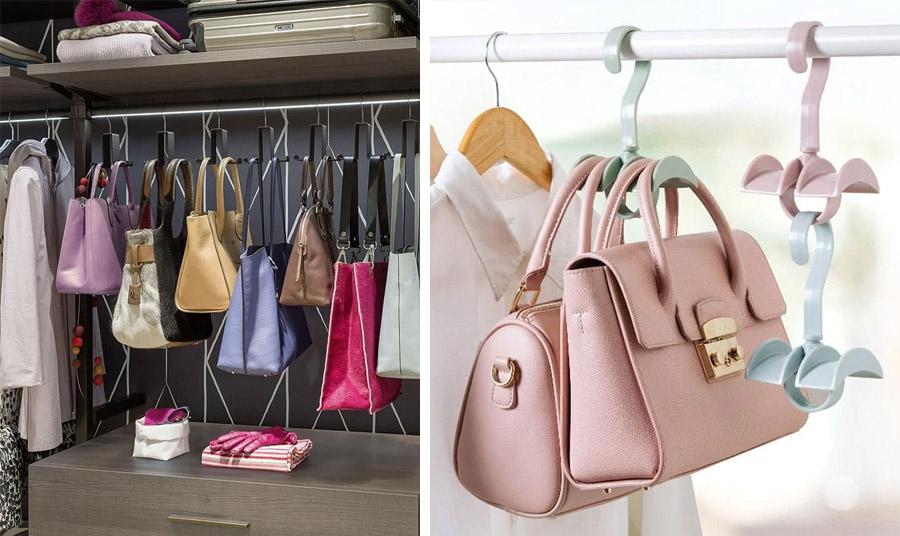 Οι γάντζοι για μέσα στην ντουλάπα από πλαστικό ή μεταλλικό μας δίνουν τη δυνατότητα να κρεμάσουμε τις τσάντες μας