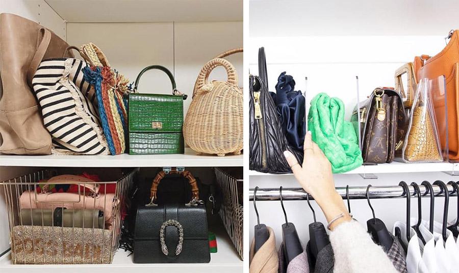Τοποθετήστε κάθετα τις τσάντες σας σε ένα μεγάλο ράφι της ντουλάπας σας. Για τις μικρότερες ή πιο μαλακές χρησιμοποιήστε κάποιο κουτί ή καλάθι