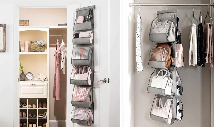 Προμηθευτείτε πολλαπλές διάφανες θήκες που μπορείτε να κρεμάσετε είτε μέσα στην ντουλάπα είτε στο φύλλο της. Οι τσάντες σας είναι οργανωμένες και προφυλαγμένες