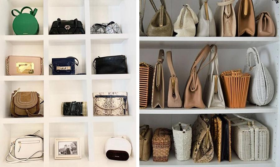 Τοποθετήστε τις τσάντες σας σε ράφια μέσα στην ντουλάπα ή αν έχετε χώρο, σε μία «βιβλιοθήκη» με τετράγωνα χωρίσματα