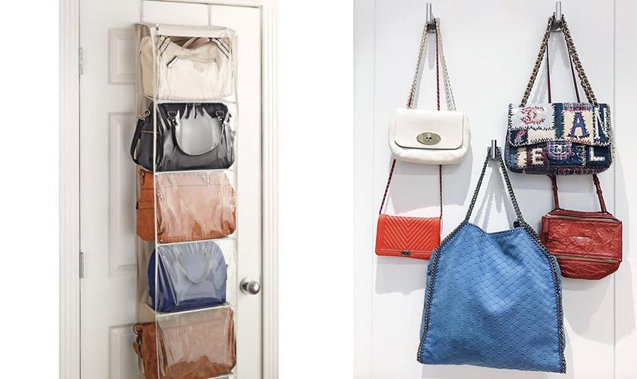 Αν ο χώρος της ντουλάπας είναι μικρός, μία λύση είναι να κρεμάσετε τις τσάντες σας πίσω από την πόρτα του δωματίου σας