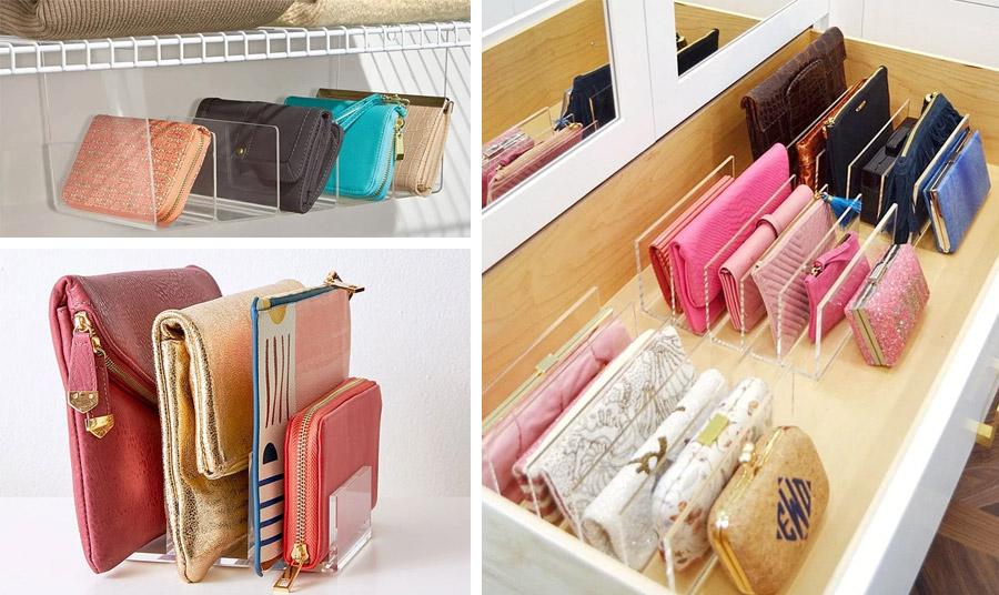 Για τις μικρές τσάντες και τα πορτοφόλια, εκμεταλλευθείτε ένα μεγάλο συρτάρι με χωρίσματα ή βιβλιοστάτες σε ένα ράφι για να τις τοποθετήσετε