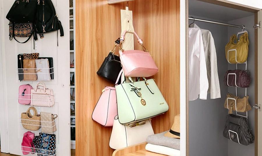 Υπάρχουν αρκετοί τρόποι για να οργανώσετε τις τσάντες σας, π.χ. τοποθετώντας μεταλλικά καλάθια στο φύλλο της ντουλάπας ή στο εσωτερικό της