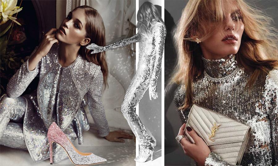 Η λάμψη των ασημένιων αστεριών… Κοστούμι με ασημένιες παγιέτες, Givenchy // Ψηλοτάκουνη γόβα με ντεγραντέ ασημί και ροζ παγιέτες, Jimmy Choo // Φορέστε μία ζιβάγκο μπλούζα με παγιέτες με ένα ασημί τσαντάκι, όπως του Saint Laurent