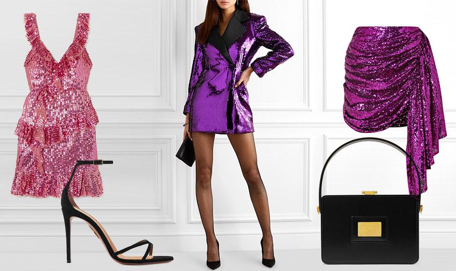 Παγιέτες με χρώμα για ένα λαμπερό πάρτι! Μίνι ροζ, Needle and Threat // Συνδυάστε χρωματιστές παγιέτες μόνο με μαύρα αξεσουάρ, όπως ένα ζευγάρι ψηλοτάκουνα πέδιλα, Aquazurra και μαύρη βραδινή τσάντα, Tom Ford // Μοβ μίνι φόρεμα, Balmain // Μίνι μοβ φούστα, Arlington