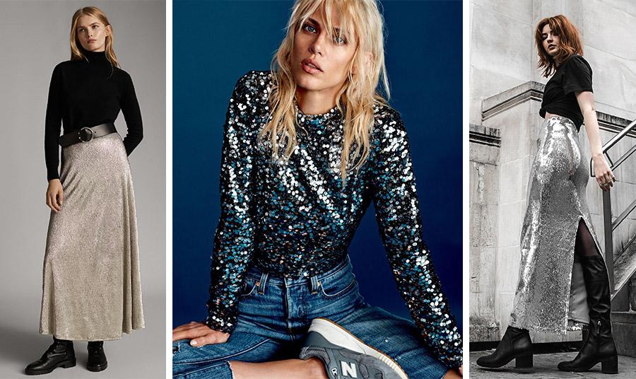 Φορέστε μία μακριά λαμπερή φούστα με μαύρο ζιβάγκο, φαρδιά δερμάτινη ζώνη και μπότες, Massimo Dutti // Μην διστάσετε να επιλέξετε μία μπλούζα με παγιέτες με τζιν