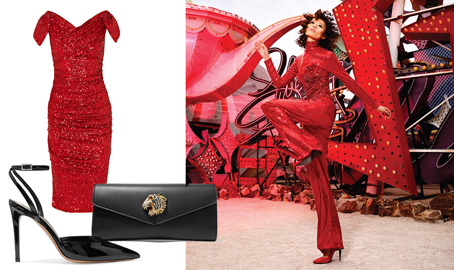 Κόκκινες παγιέτες για απόλυτα εντυπωσιακή εμφάνιση! Κόκκινο λαμπερό φόρεμα, Dolce&Gabbana που συνδυάζεται τέλεια με μαύρο μικρό φάκελο, Gucci και ψηλοτάκουνα μαύρα παπούτσια, Alexandre Vauthier // Η Li-Xiaoxing φωτογραφημένη στα κόκκινα για την έκδοση της Vogue Κίνας