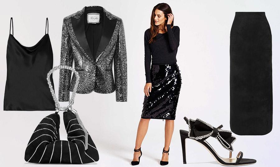 Ένα φόρεμα ή φούστα ή σακάκι με παγιέτες συνδυάζονται με ασφάλεια με μαύρα // Φορέστε ένα σακάκι με παγιέτες, Redemption με ένα απλό τοπ και μακριά μαύρη φούστα, Alaia ή συνδυάστε μία τσάντα με παγιέτες ή πέδιλα, και τα δύο Jimmy Choo με ένα μαύρο φόρεμα