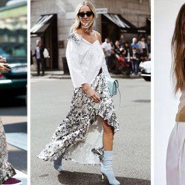 Μακριά ή ασύμμετρη φούστα με ασημί παγιέτες και λευκό πουκάμισο είναι μία επιλογή ακόμη και για το πρωί! // Ασημένιες παγιέτες σε μπλούζα συνδυασμένη με λευκό παντελόνι ακόμη και για το γραφείο